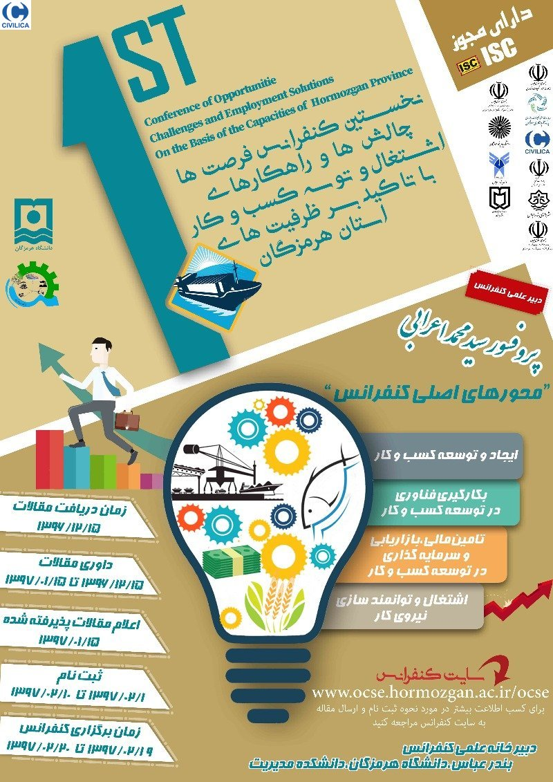 Poster of The First Conference on Opportunities, Challenges and Solutions for Employment and Business Development with an Emphasis on Hormozgan Province Capacities