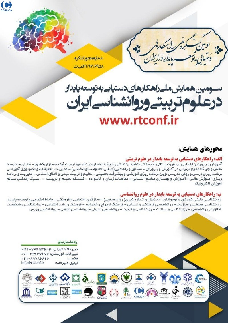 Poster of Third National Conference on Strategies for Achieving Sustainable Development in Iranian Education and Psychology