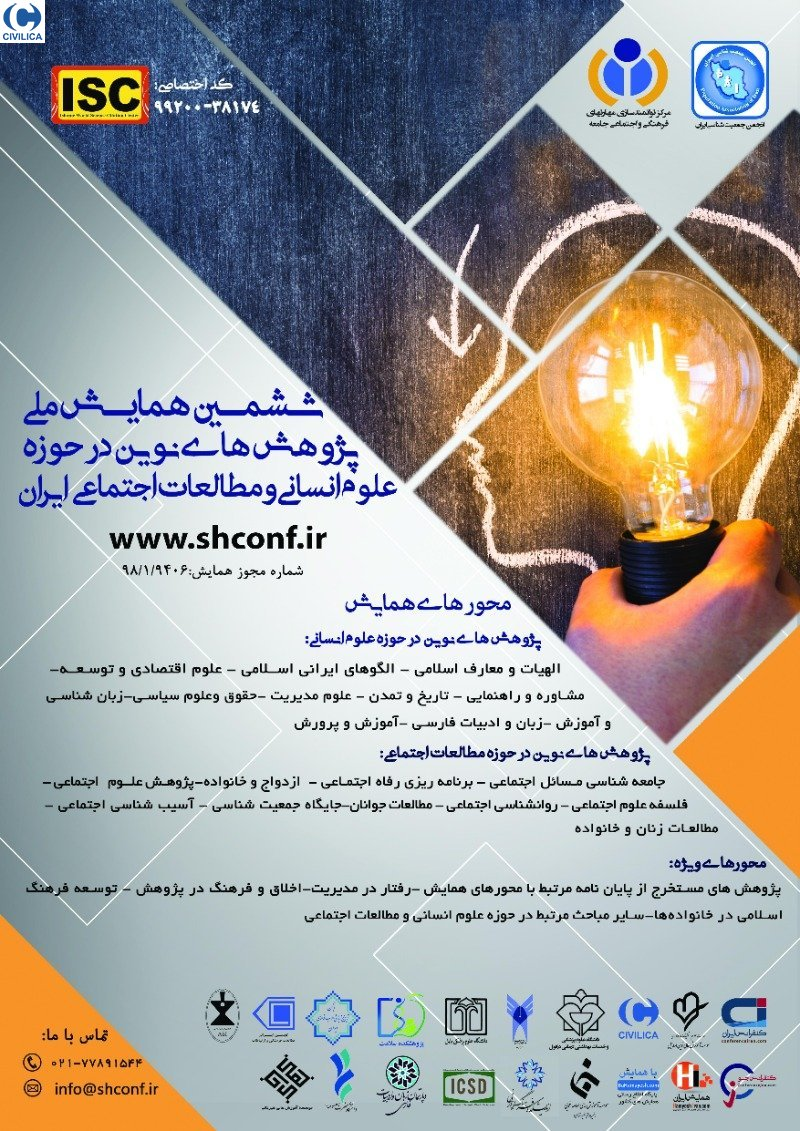 Poster of The 6th National Conference on Modern Research in the field of Humanities and Social Studies of Iran(With anthropological approach)