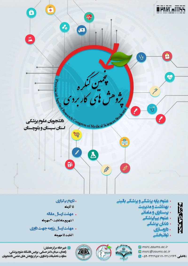 Poster of Fifth Congress of Applied Researches of Students of Sistan and Baluchestan Medical Sciences Universities PARCoMSS